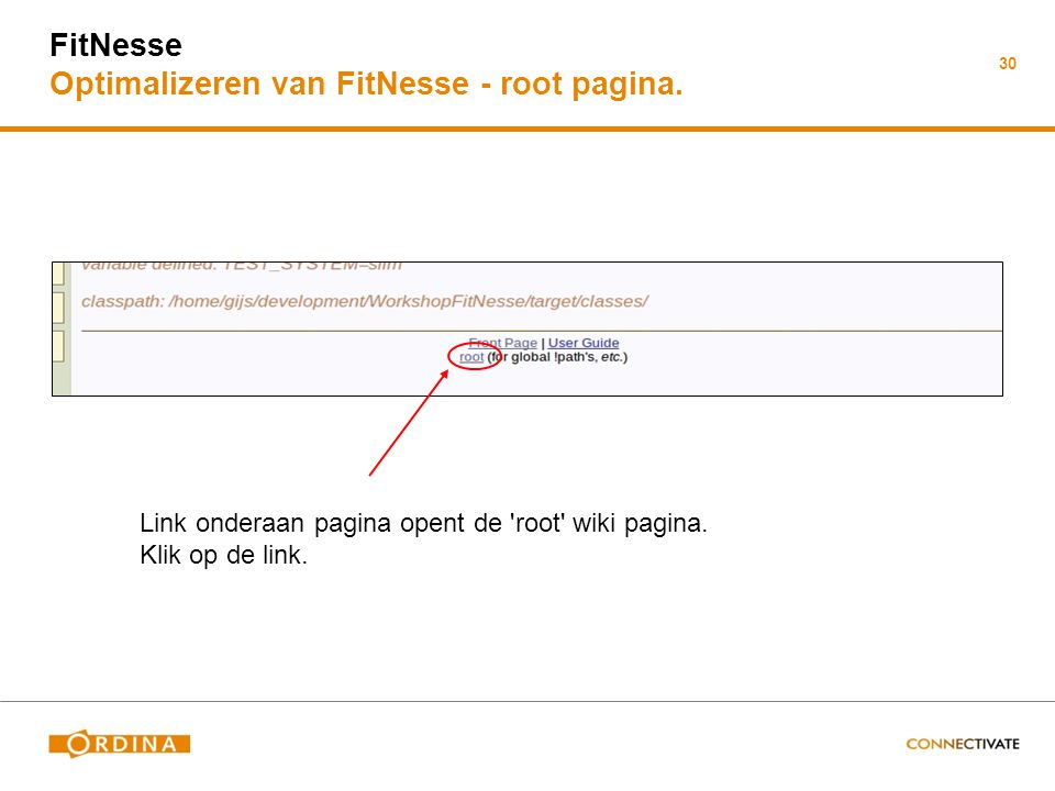 FitNesse Optimalizeren van FitNesse - root pagina.