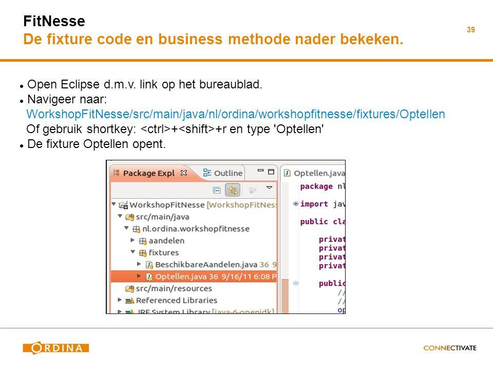 FitNesse De fixture code en business methode nader bekeken.