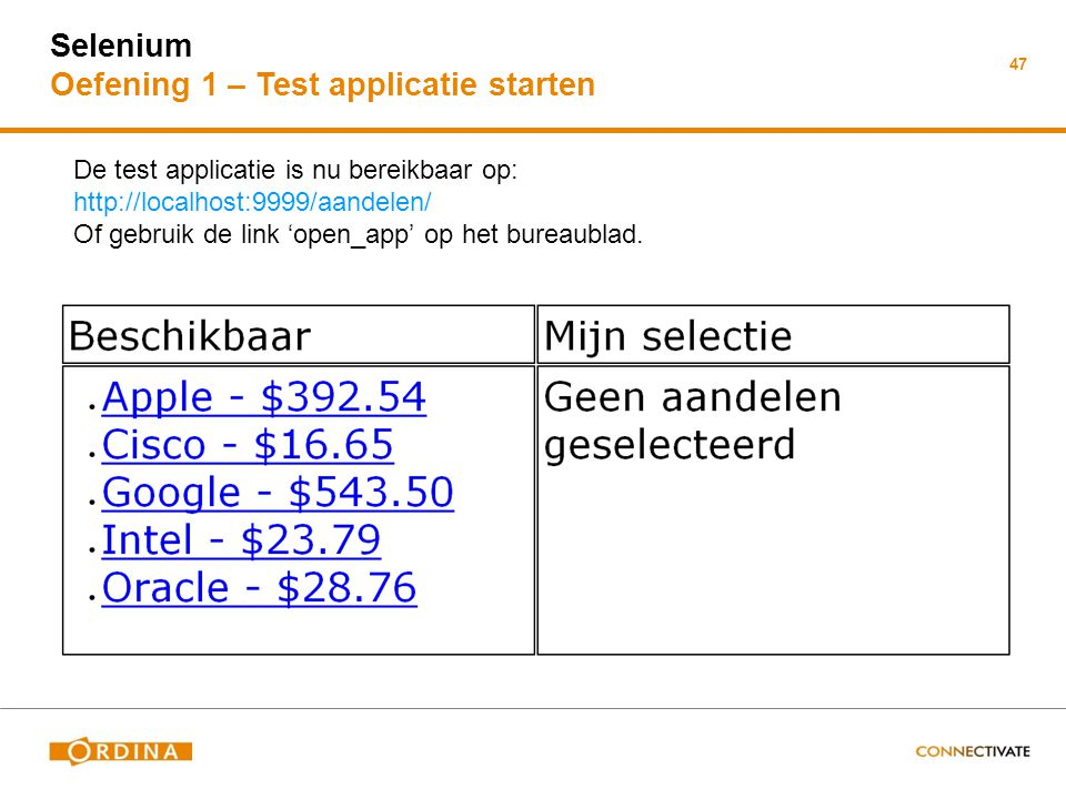 Selenium Oefening 1 – Test applicatie starten