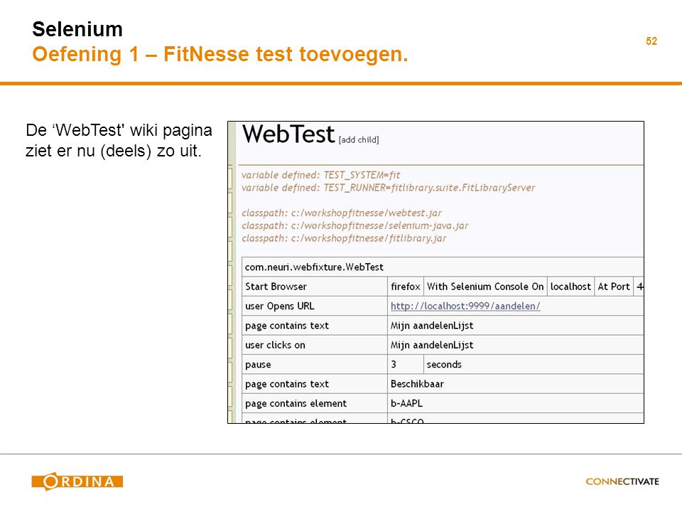 Selenium Oefening 1 – FitNesse test toevoegen.
