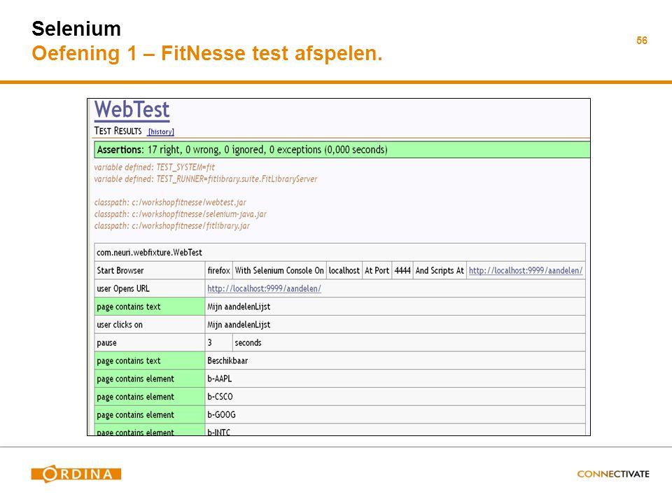 Selenium Oefening 1 – FitNesse test afspelen.