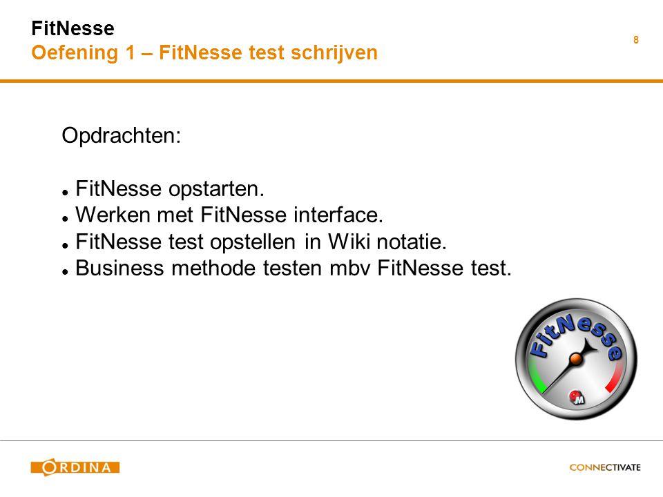 Werken met FitNesse interface.