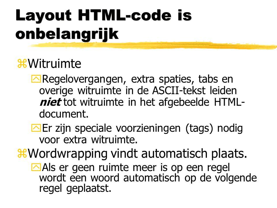 Layout HTML-code is onbelangrijk