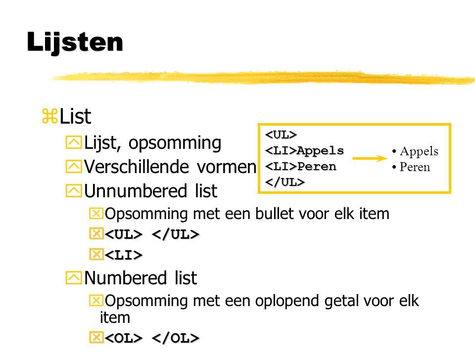 Lijsten List Lijst, opsomming Verschillende vormen Unnumbered list