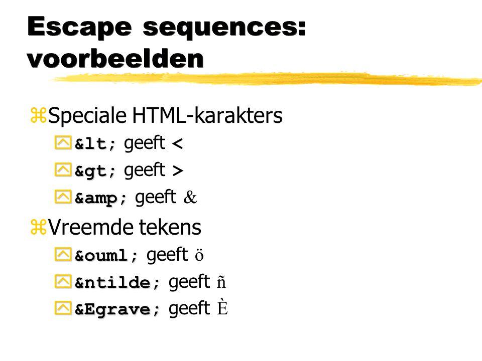 Escape sequences: voorbeelden