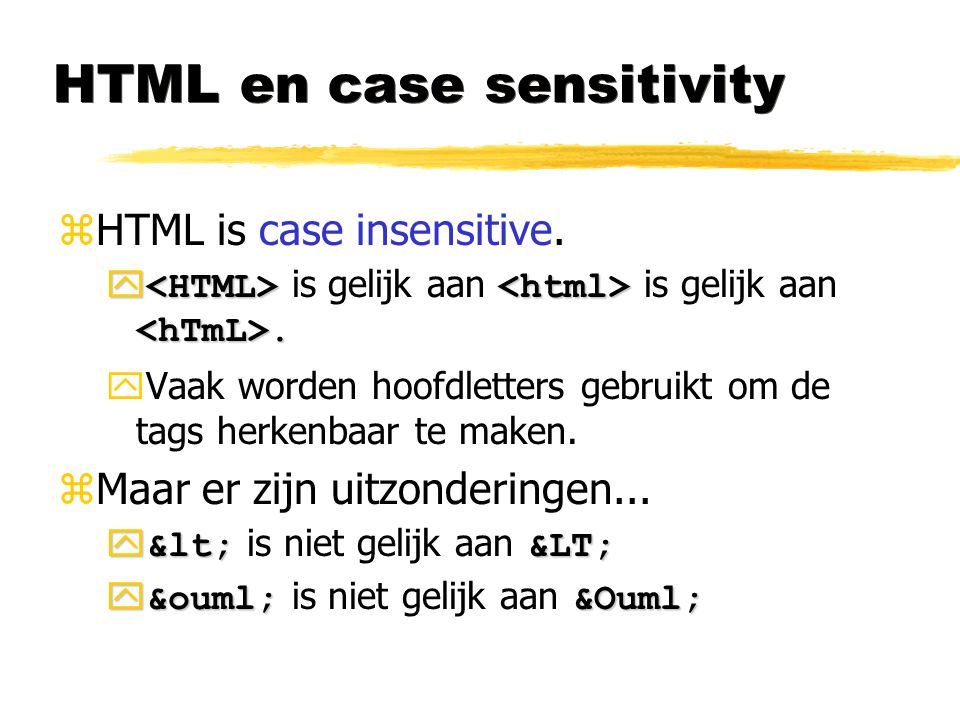 HTML en case sensitivity