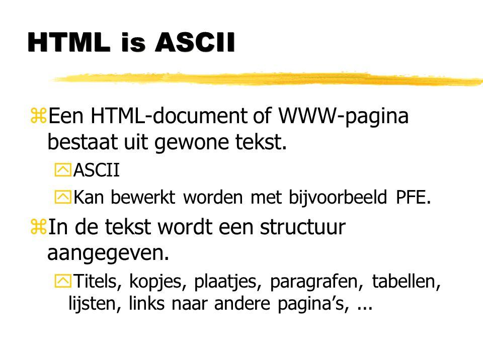 HTML is ASCII Een HTML-document of WWW-pagina bestaat uit gewone tekst. ASCII. Kan bewerkt worden met bijvoorbeeld PFE.