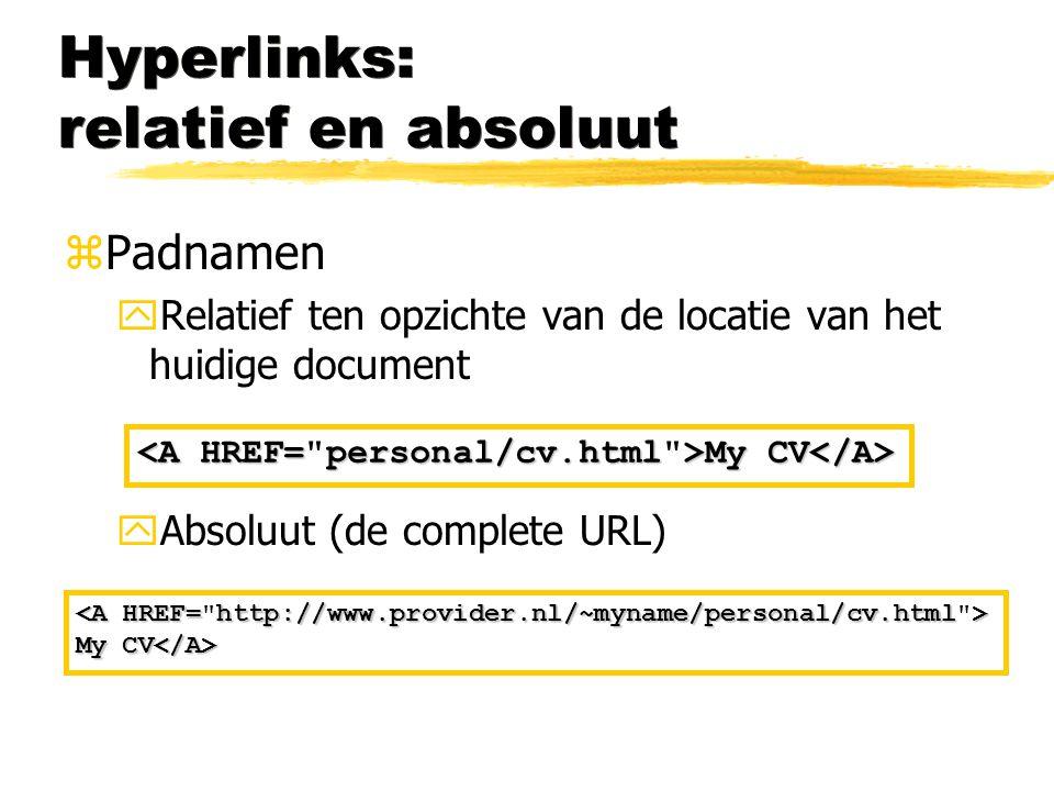 Hyperlinks: relatief en absoluut