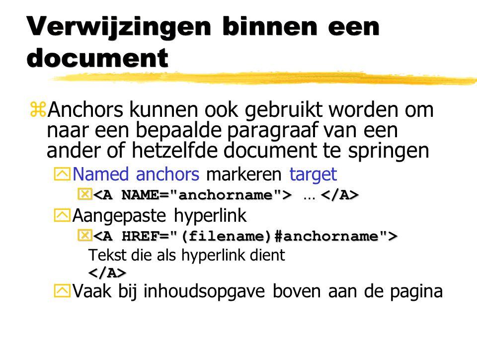 Verwijzingen binnen een document