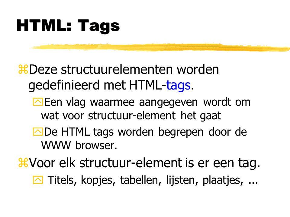 HTML: Tags Deze structuurelementen worden gedefinieerd met HTML-tags.