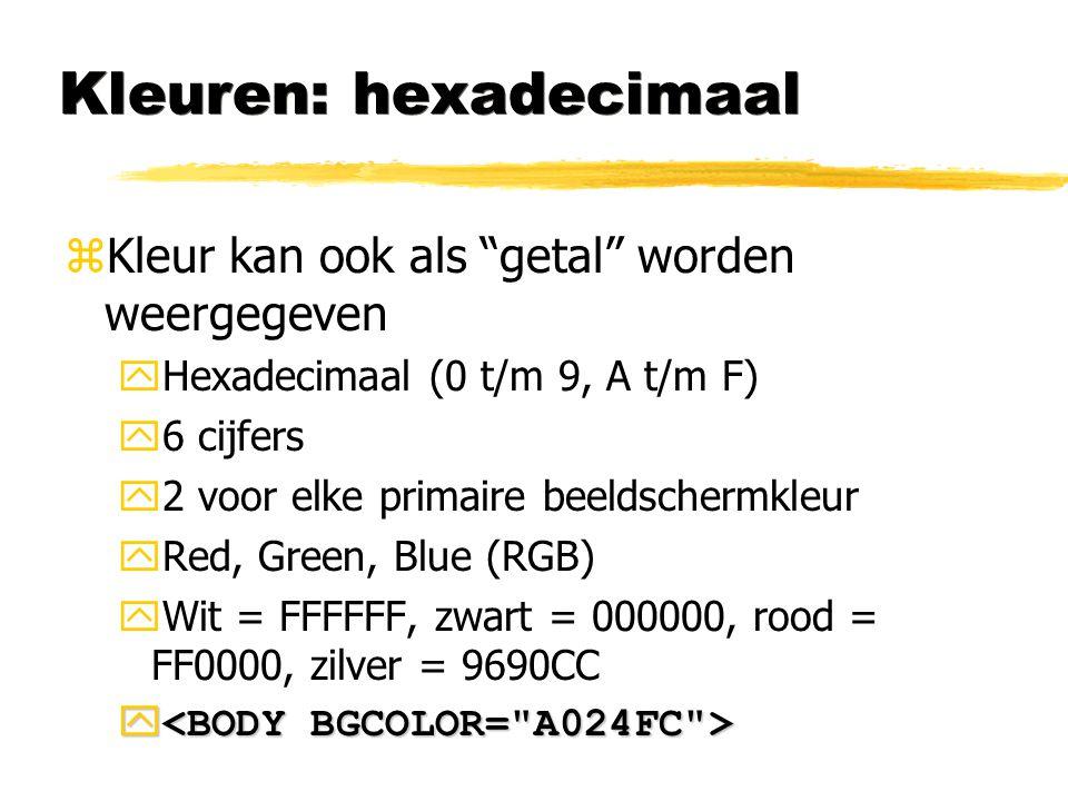 Kleuren: hexadecimaal