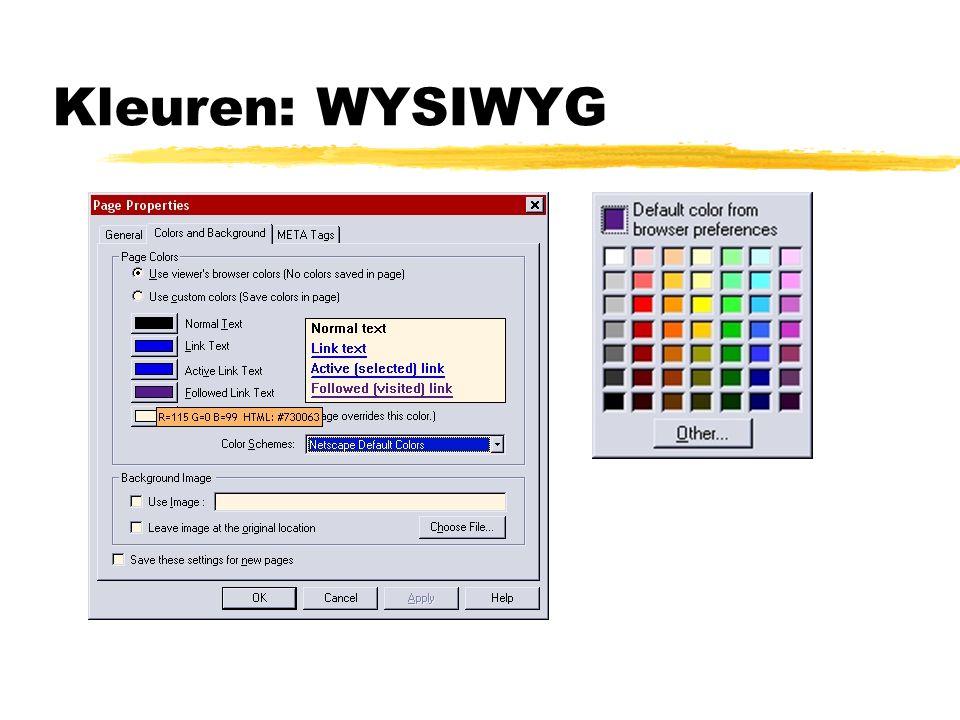 Kleuren: WYSIWYG