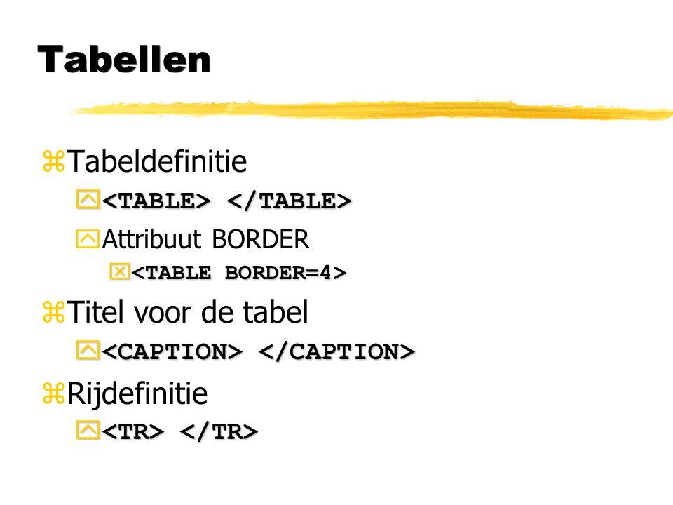 Tabellen Tabeldefinitie Titel voor de tabel Rijdefinitie