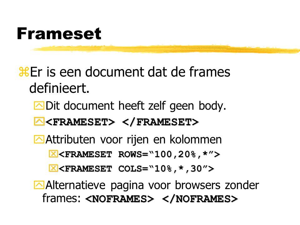 Frameset Er is een document dat de frames definieert.
