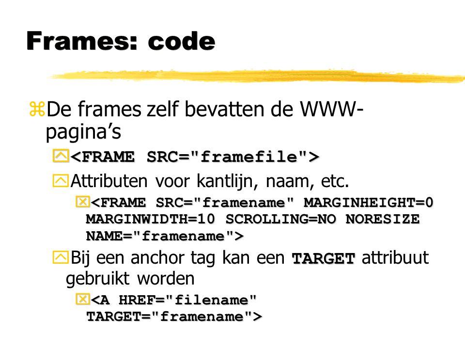 Frames: code De frames zelf bevatten de WWW-pagina's