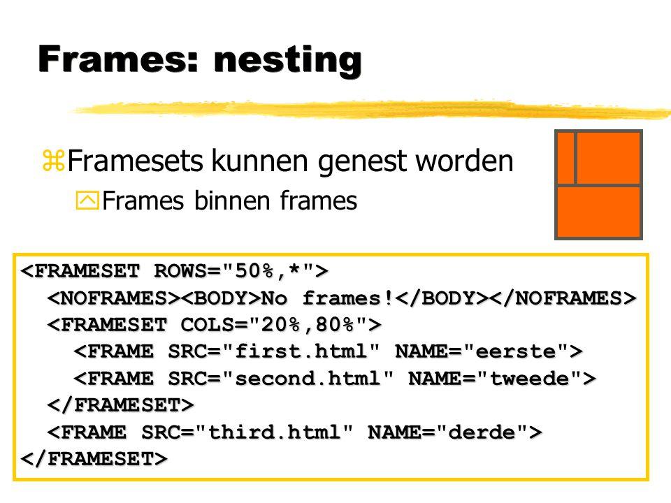 Frames: nesting Framesets kunnen genest worden Frames binnen frames