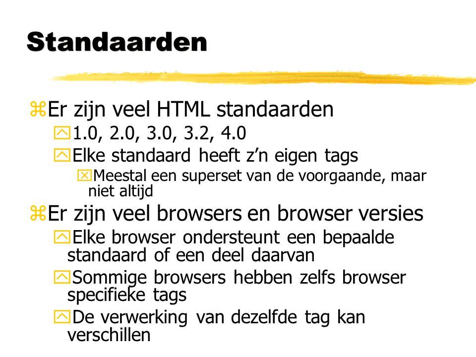 Standaarden Er zijn veel HTML standaarden