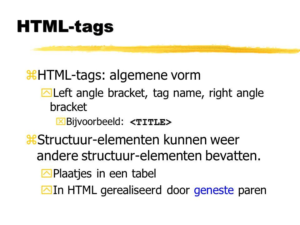 HTML-tags HTML-tags: algemene vorm