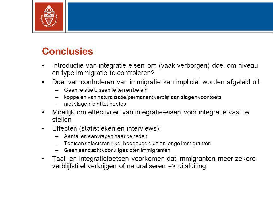 Conclusies Introductie van integratie-eisen om (vaak verborgen) doel om niveau en type immigratie te controleren
