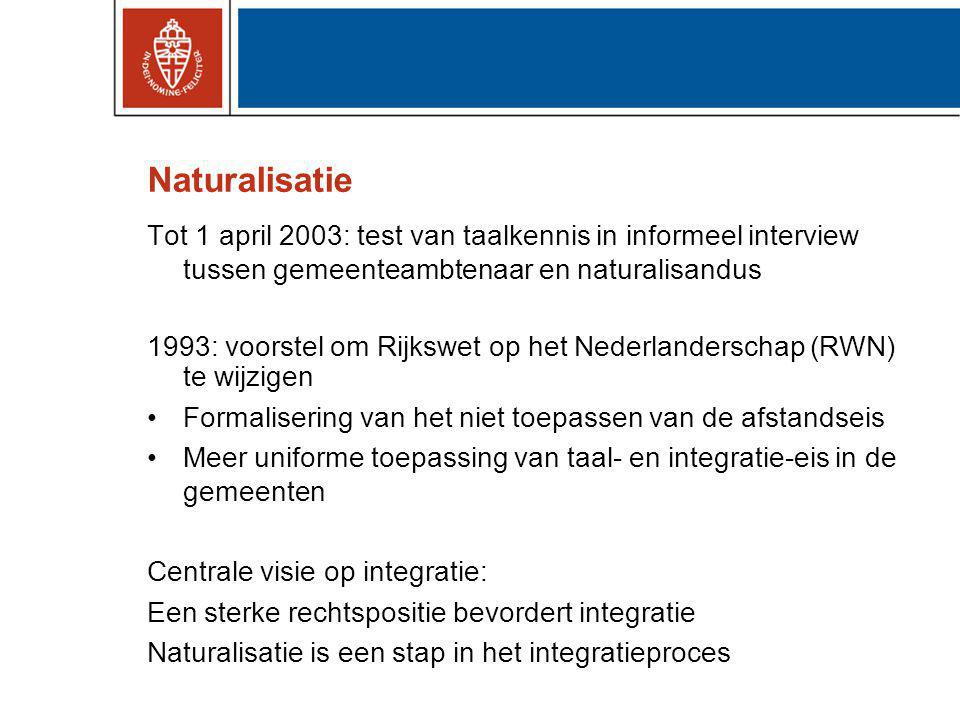 Naturalisatie Tot 1 april 2003: test van taalkennis in informeel interview tussen gemeenteambtenaar en naturalisandus.