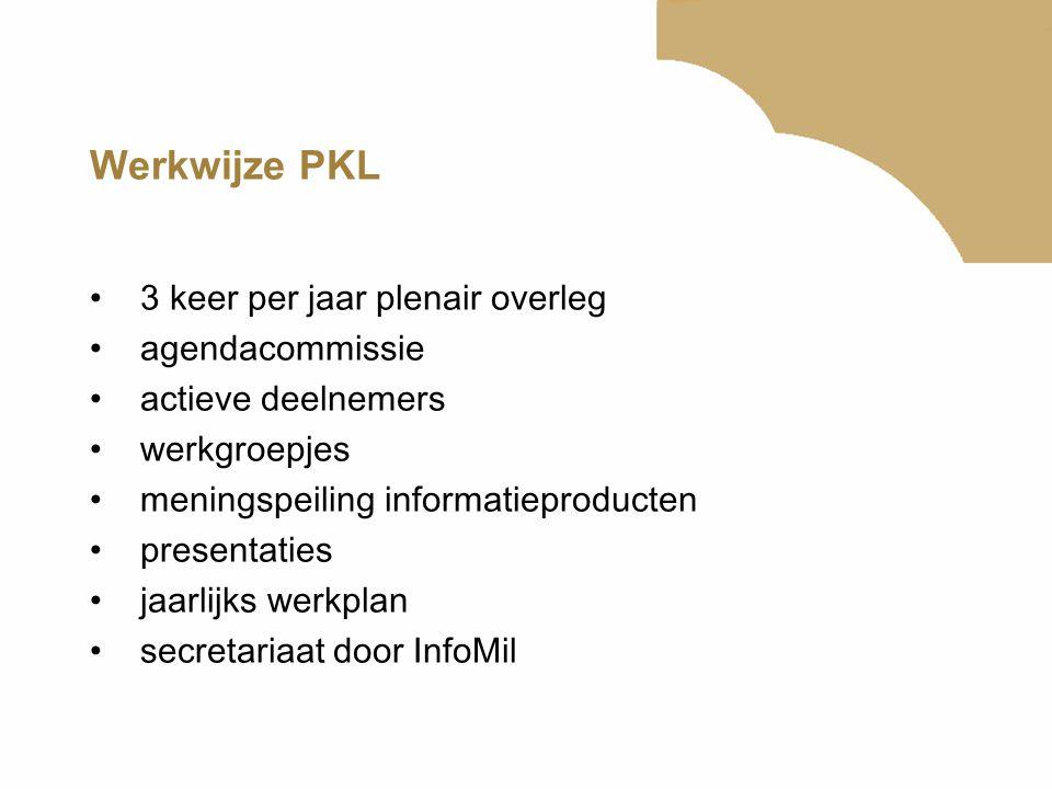 Werkwijze PKL 3 keer per jaar plenair overleg agendacommissie