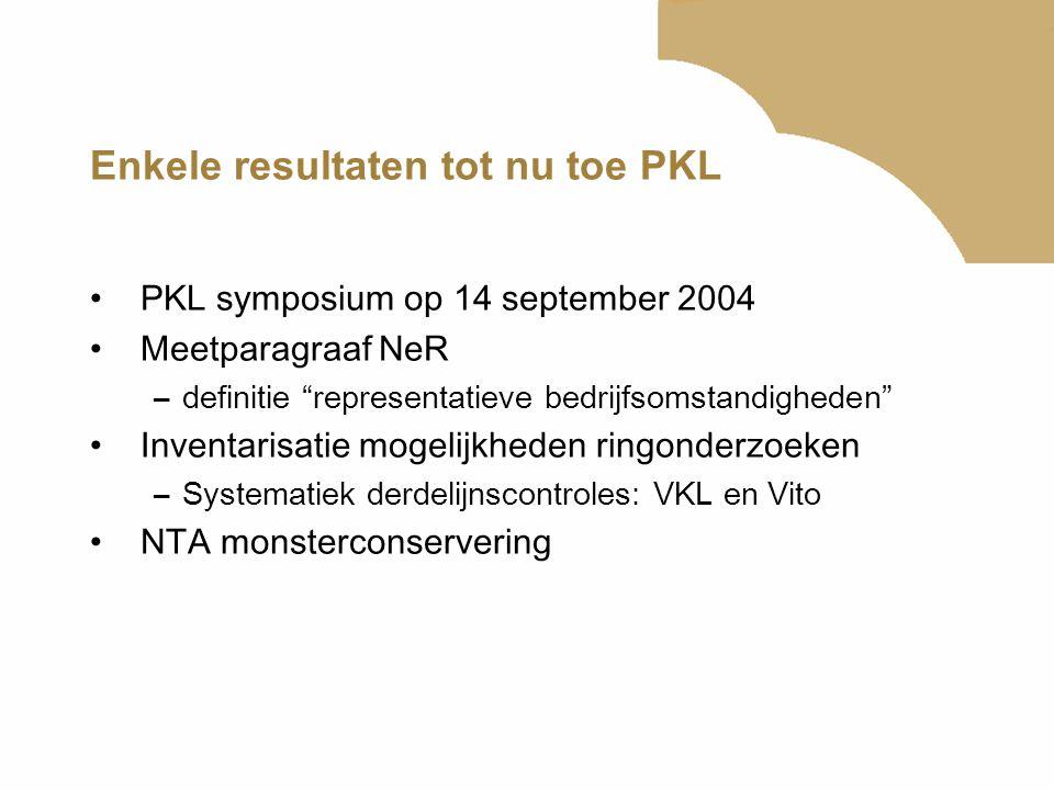 Enkele resultaten tot nu toe PKL