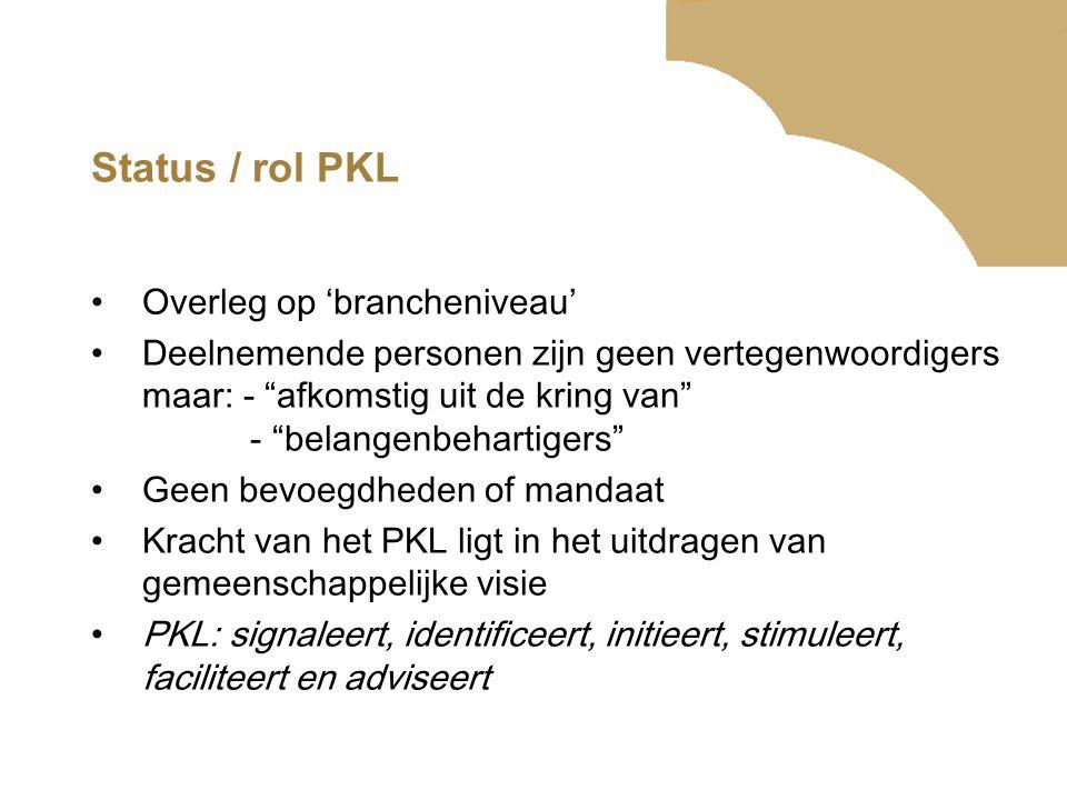 Status / rol PKL Overleg op 'brancheniveau'