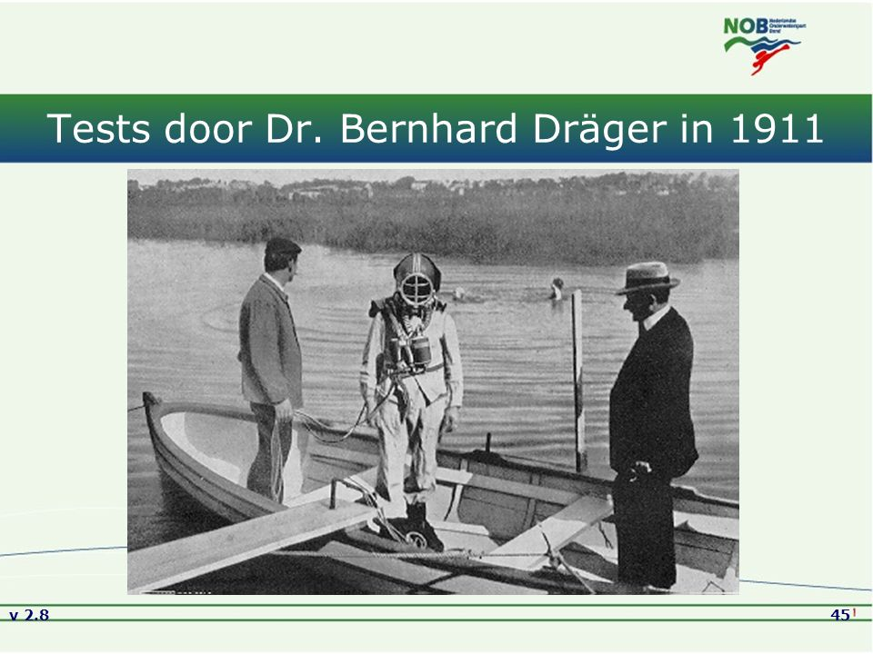 Tests door Dr. Bernhard Dräger in 1911