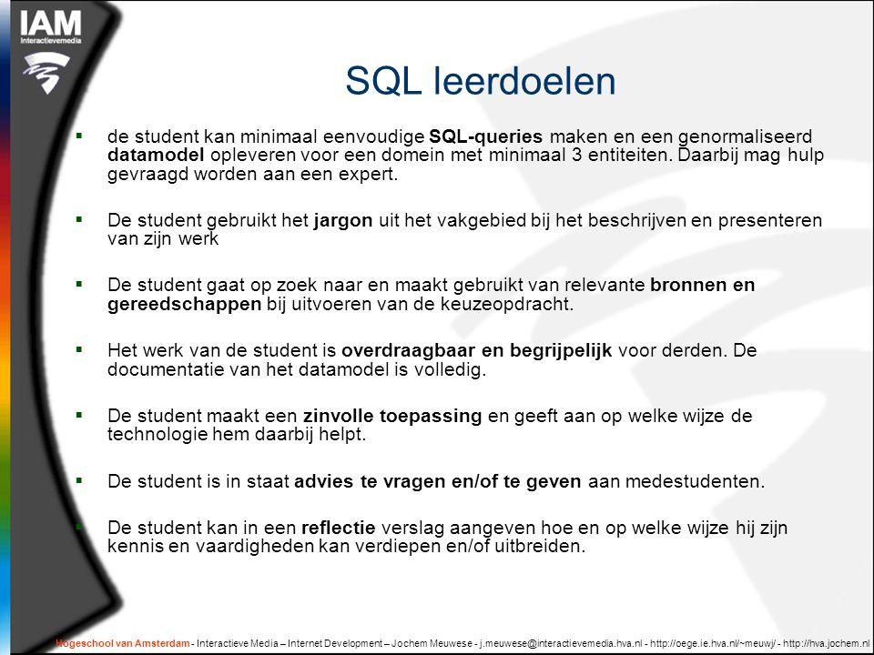 SQL leerdoelen