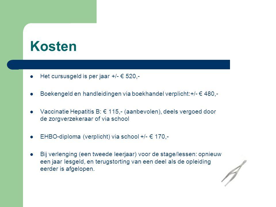 Kosten Het cursusgeld is per jaar +/- € 520,-