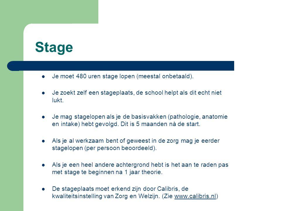 Stage Je moet 480 uren stage lopen (meestal onbetaald).