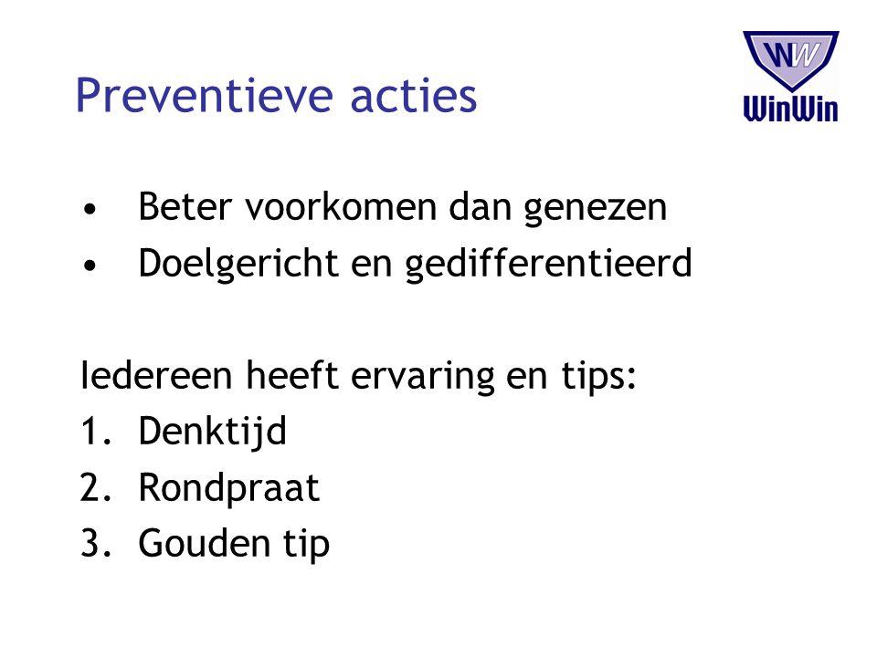 Preventieve acties Beter voorkomen dan genezen