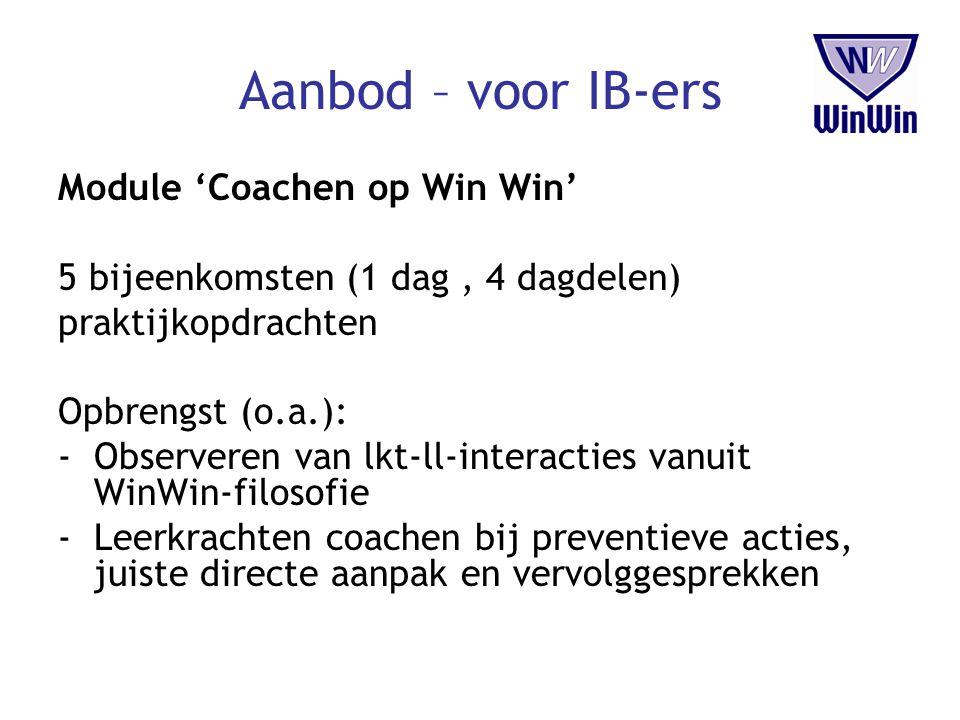 Aanbod – voor IB-ers Module 'Coachen op Win Win'