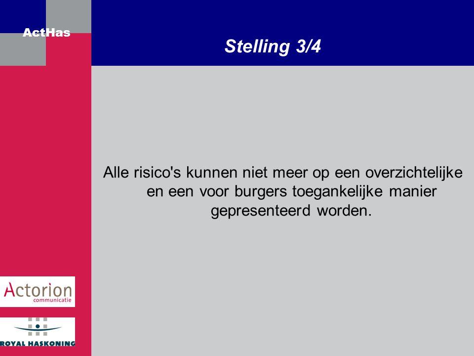 Stelling 3/4 Alle risico s kunnen niet meer op een overzichtelijke en een voor burgers toegankelijke manier gepresenteerd worden.