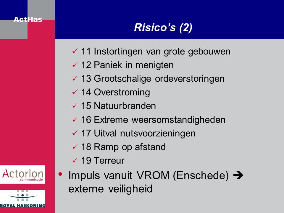 Impuls vanuit VROM (Enschede)  externe veiligheid