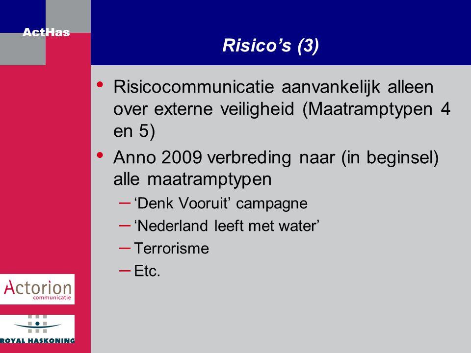 Anno 2009 verbreding naar (in beginsel) alle maatramptypen