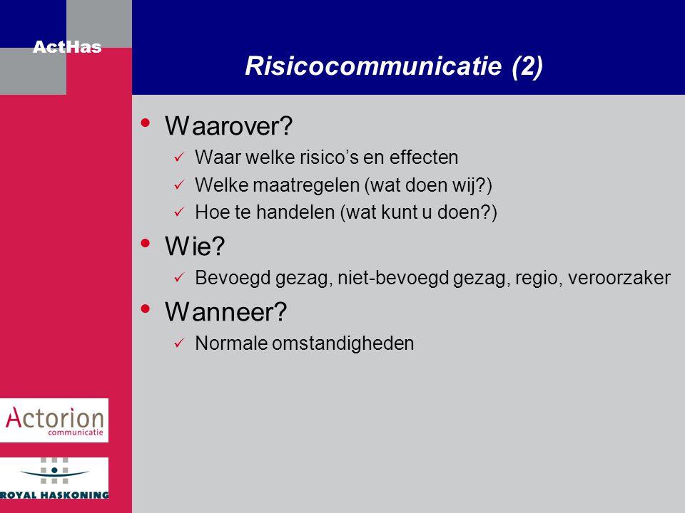 Risicocommunicatie (2)
