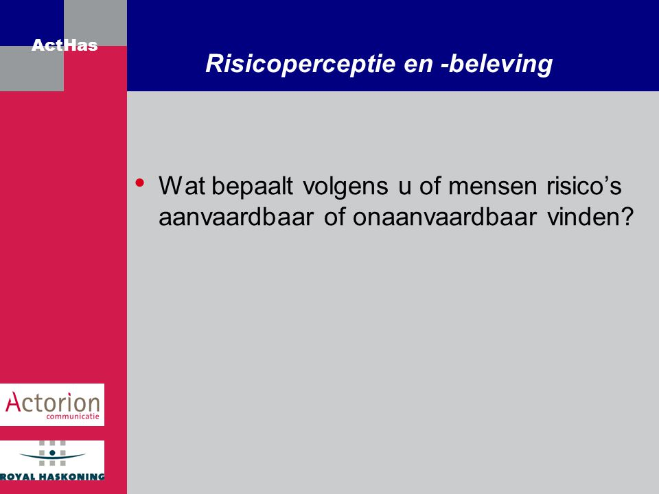 Risicoperceptie en -beleving