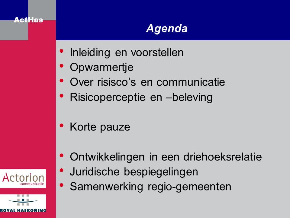 Agenda Inleiding en voorstellen. Opwarmertje. Over risisco's en communicatie. Risicoperceptie en –beleving.