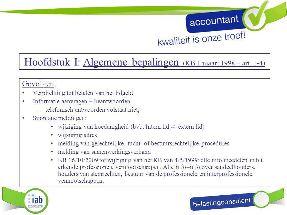 Hoofdstuk I: Algemene bepalingen (KB 1 maart 1998 – art. 1-4)