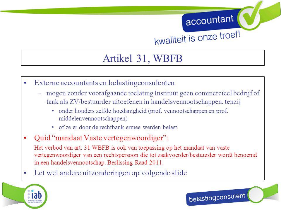 Artikel 31, WBFB Externe accountants en belastingconsulenten