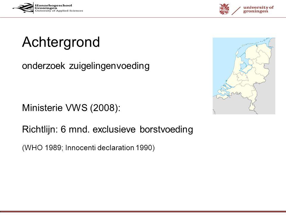 Achtergrond onderzoek zuigelingenvoeding Ministerie VWS (2008):