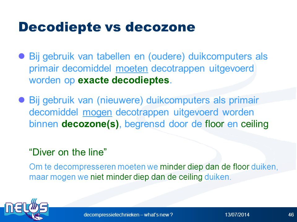 Decodiepte vs decozone