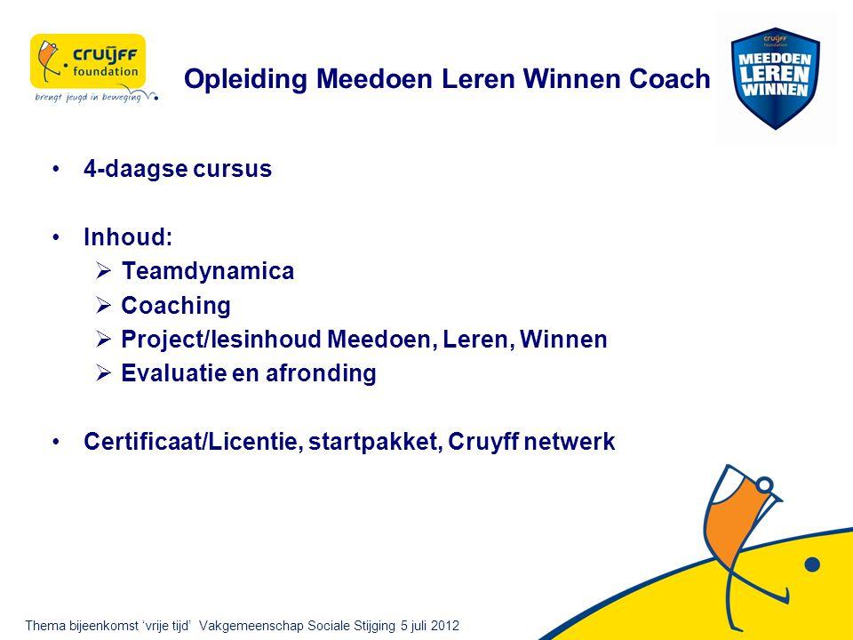 Opleiding Meedoen Leren Winnen Coach