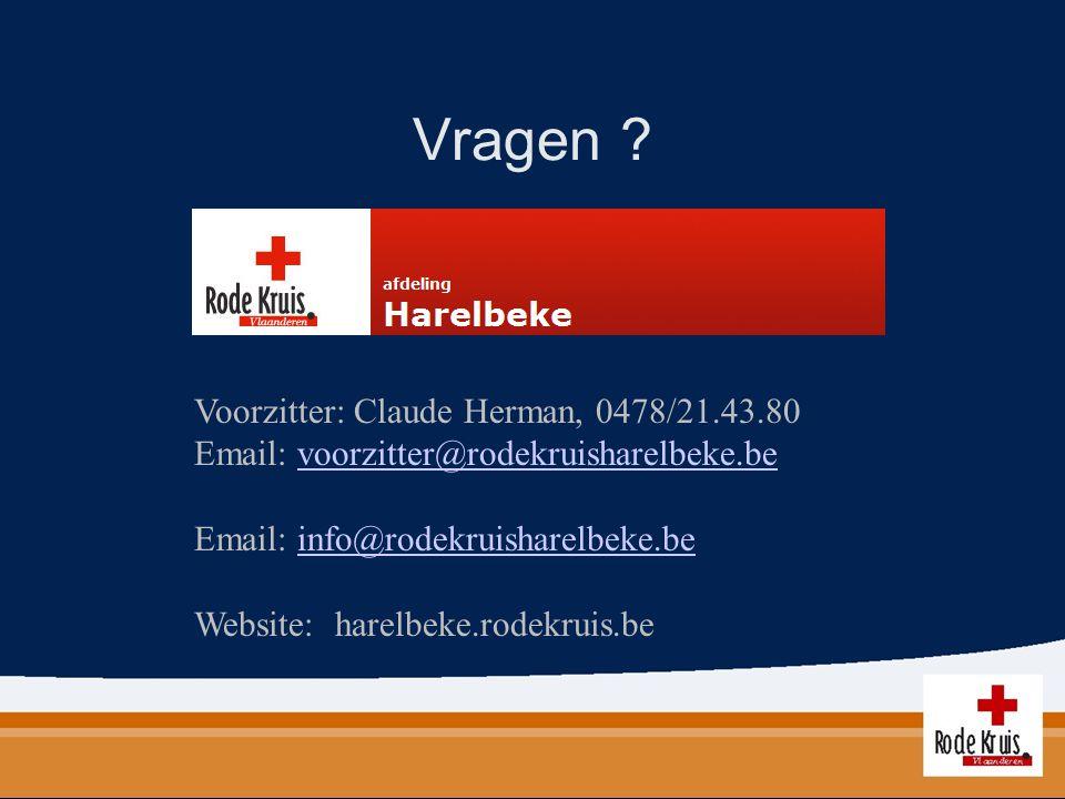 Vragen Voorzitter: Claude Herman, 0478/21.43.80
