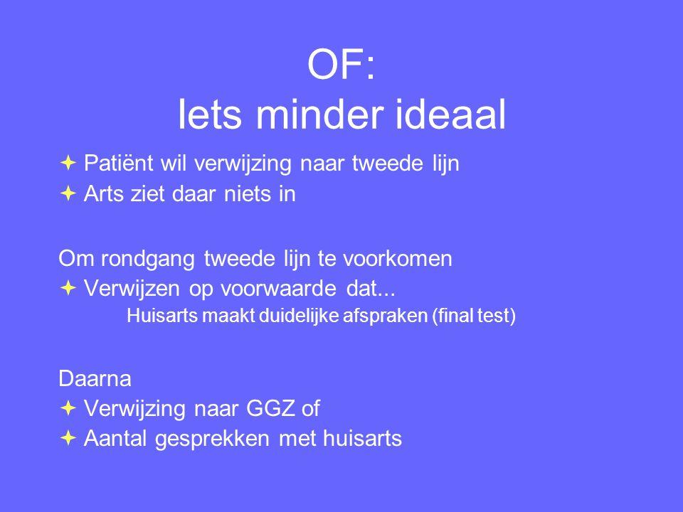 OF: Iets minder ideaal Patiënt wil verwijzing naar tweede lijn
