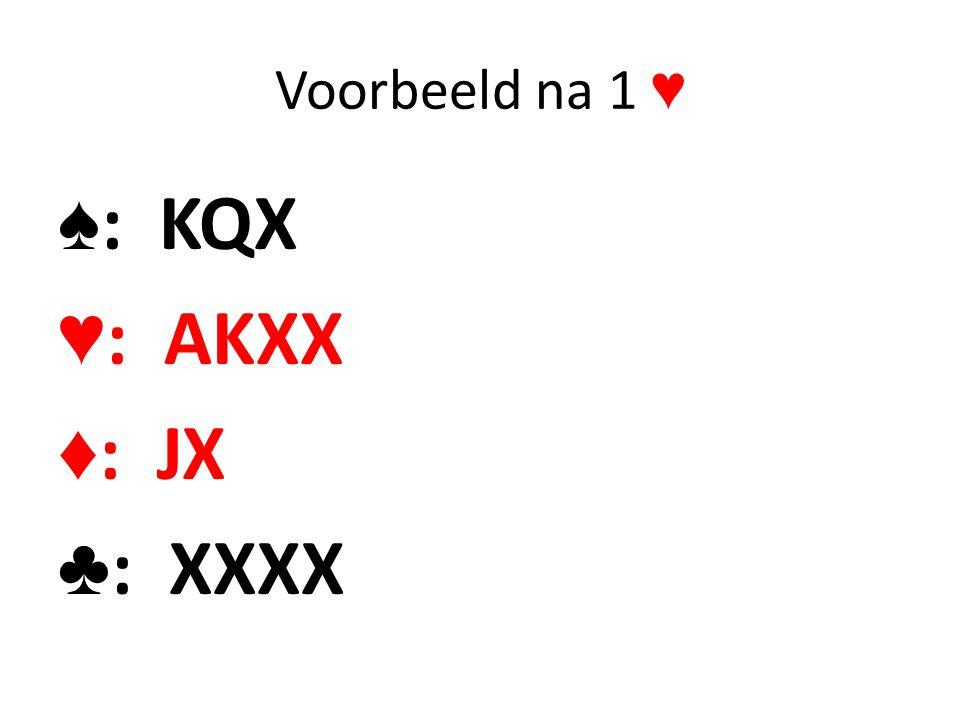 Voorbeeld na 1 ♥ ♠: KQX ♥: AKXX ♦: JX ♣: XXXX