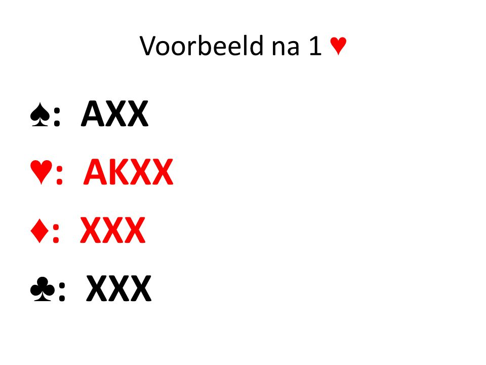 Voorbeeld na 1 ♥ ♠: AXX ♥: AKXX ♦: XXX ♣: XXX