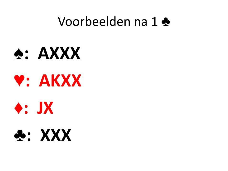 Voorbeelden na 1 ♣ ♠: AXXX ♥: AKXX ♦: JX ♣: XXX