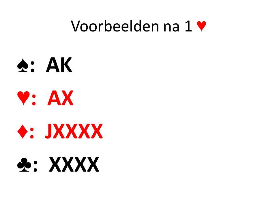 Voorbeelden na 1 ♥ ♠: AK ♥: AX ♦: JXXXX ♣: XXXX
